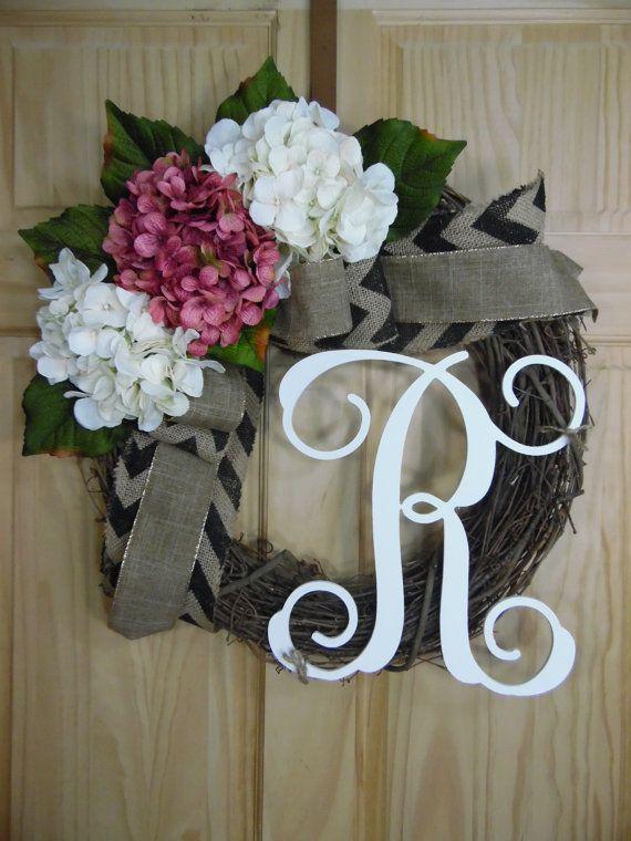 spring wreath - mauve hydrangea wreath -  summer wreath - easter wreath - monogram wrearth - mothers day