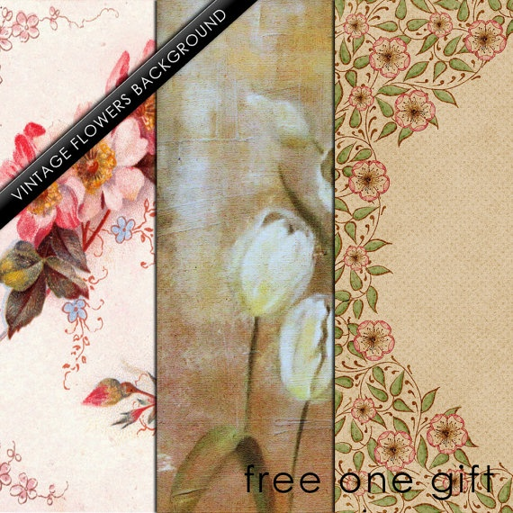 Vintage Flowers Bacgrounds kit 3 Digital  Decoupage by IdrawUprint, $1.80