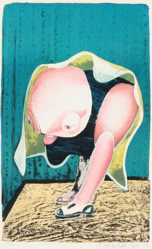 Figurkompositioner. Begge sign. A. Haugen Sørensen og hhv. 77 og 85, 133/150 og XXII/XXV. To litografier i farver. Lysmål 70 x 48 og 57 x 42. (2)