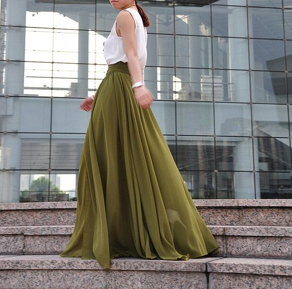 Plus Size Maxi Skirt Chiffon Silk Skirts by Dressbeautiful on Etsy