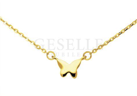 Niezwykła złota celebrytka z uroczą zawieszką w kształcie motylka