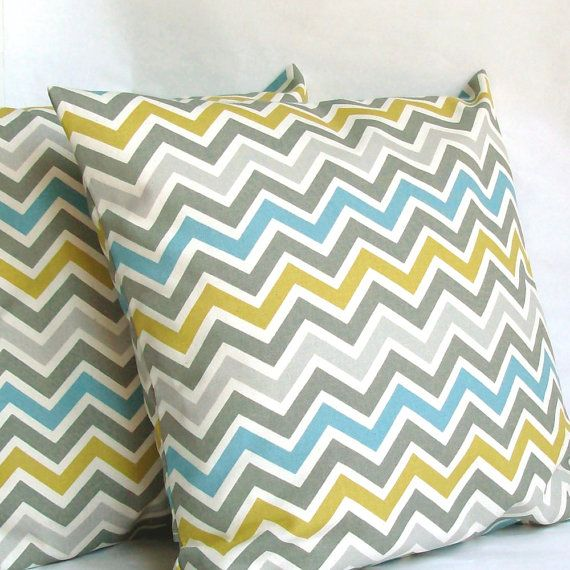 Blue Yellow Pillow Cover - 22x22 inch Chevron Decorative Cushion Cover - Blue Citrine-Yellow Grey Zig Zag. $25.00, via Etsy.