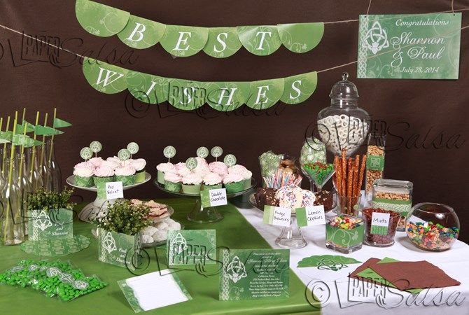 Irish theme party printables and invitations for anniversary, baptism, wedding and more.