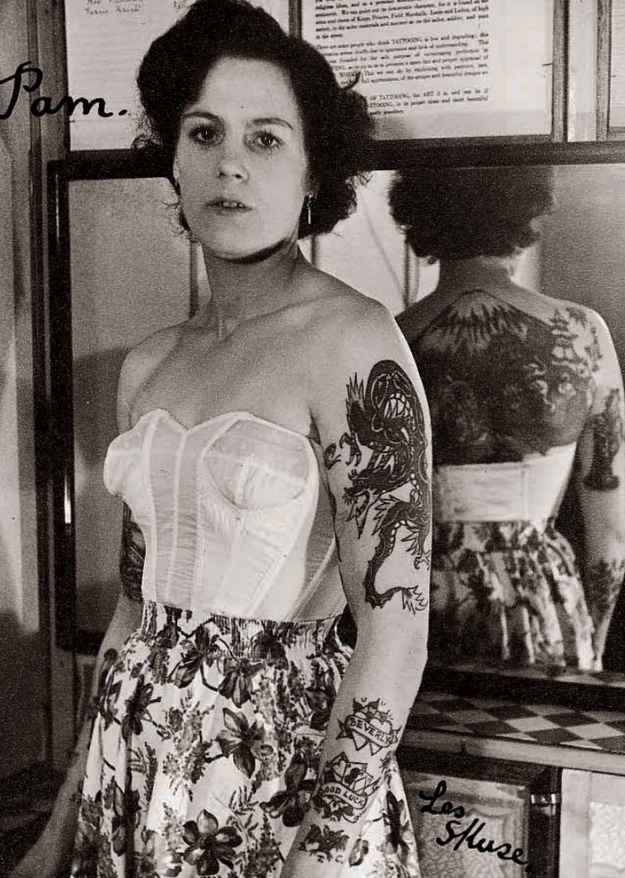 Pamela Nash tattooed by Les Skuse; Bristol, Great Britain (1950s)