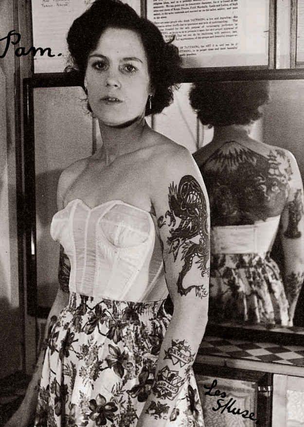 Pamela Nash tattooed by Les Skuse; Bristol, Great Britain (1950s)