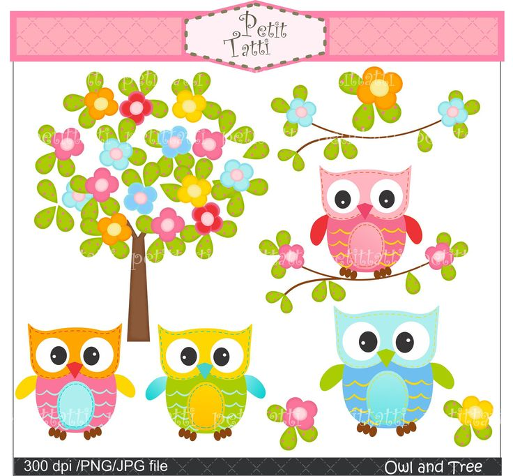 Digital clip art.  for all use,Owl and flowers tree, owls clip art. $4.80, via Etsy.