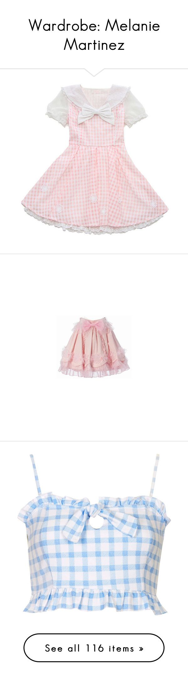 """Wardrobe: Melanie Martinez"" by annaclaraalvez ❤ liked on Polyvore featuring dresses, lolita, pink dress, skirts, bottoms, saias, pink skirt, tops, crop tops and shirts"