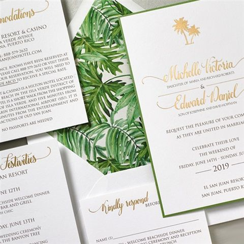 The Gorgeous Palm Frond Liner And Gold Foil Stamping Make This Destination Wedding Invitation From Lemon