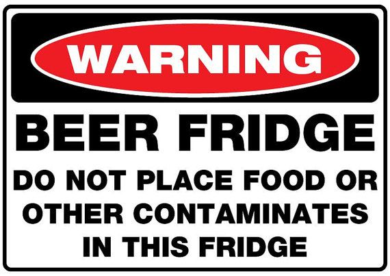 Beer Fridge Sticker 300mm x 210mm no contaminates