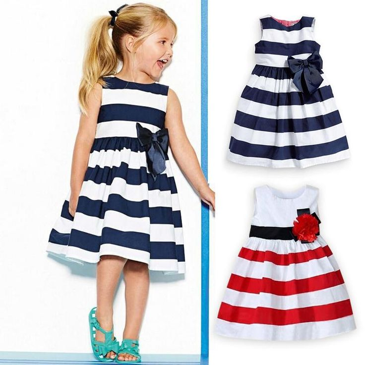 New Baby Girl Dress Navy Blue White Striped