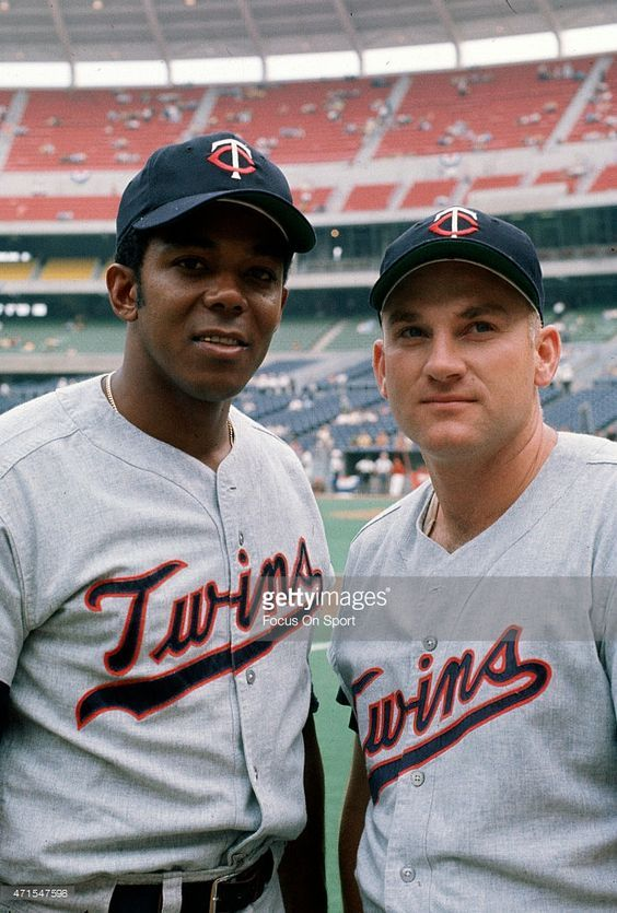 Tony Oliva #6 (L) and Harmon Killebrew #3 (R) of the Minnesota Twins and the American League AllStars poses together for this portrait during batting practice prior to playing the National League in Major League Baseball All Star game July 14, 1970 at Riverfront Stadium in Cincinnati, Ohio. The National League won the game 5-4.: