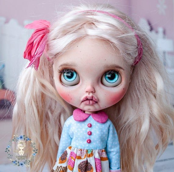 Made to order! Custom OOAK Blythe doll, sweet baby Blythe with natural blonde mohair wefts hair and