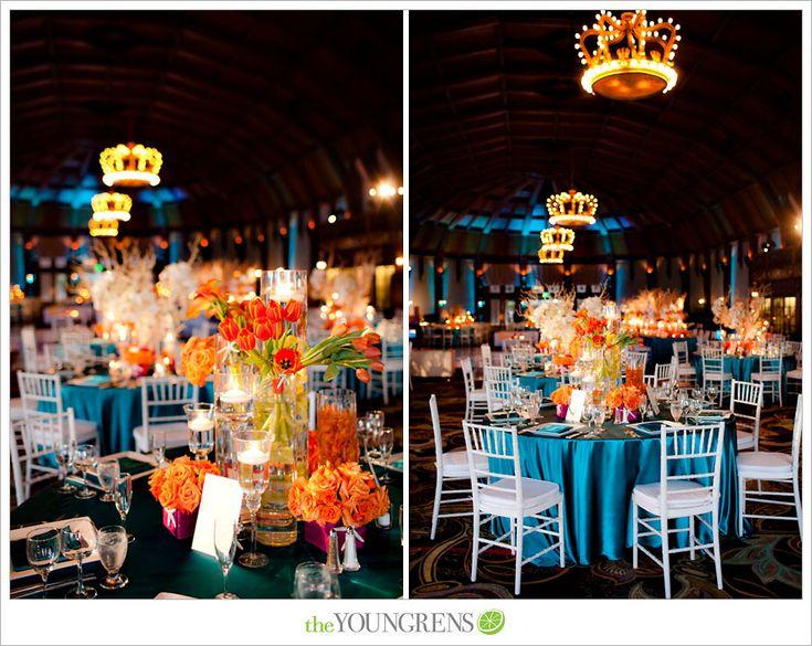 Two key elements for your wedding decor orange wedding - Orange and teal decor ...