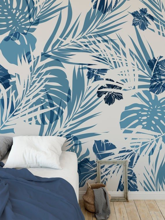 Removable Peel And Stick Wallpaper Blue Tropical Leaf Palm Etsy Palm Wallpaper Wall Paint Designs Wallpaper