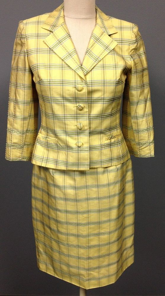 KAY UNGER Yellow Plaid Silk Skirt Beaded Blazer 2 Pc Lined Suit Set Sz 4 DD5514  | eBay