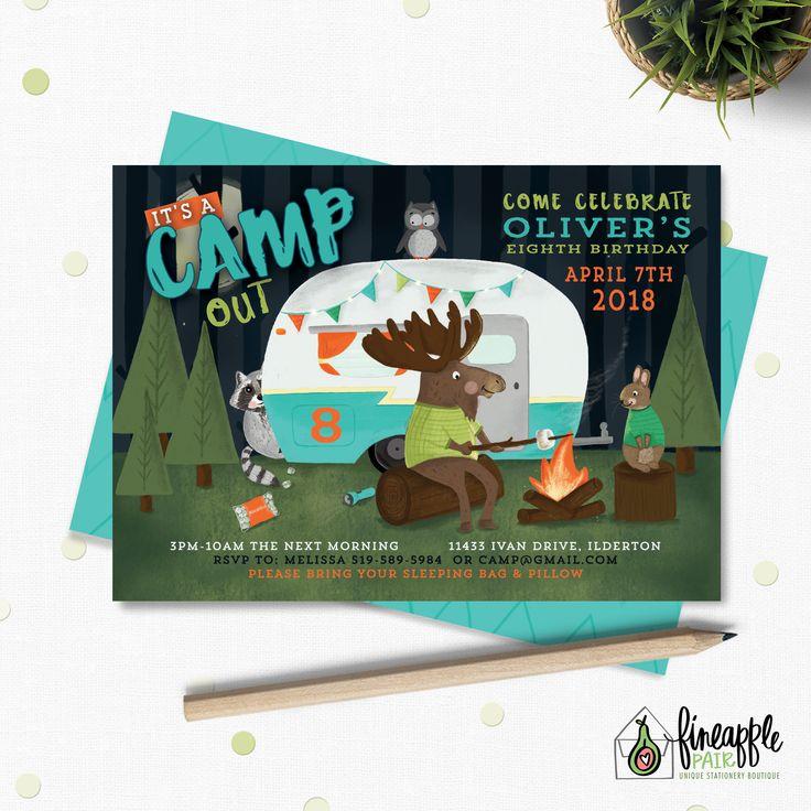 Camping Birthday Invite, Camping Boy Birthday Invitation, Camping Birthday, Camping Party Package, Camping Birthday Printable, Camping DIY by FineapplePair on Etsy