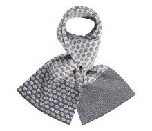 Daisy Chain Lambswool Scarf: Soft Greys, Lilac & White from Fraser Knitwear