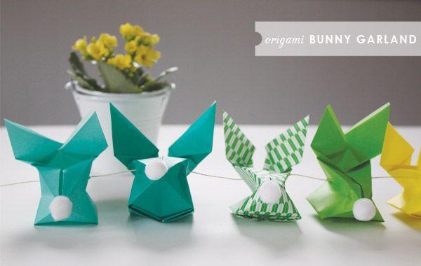 Origami Bunny Garland: Diy Ideas, Diy Origami, Diy Crafts, Origami Paper, Easter Crafts, Easter Bunnies, Easter Decor, Origami Bunnies, Bunnies Garlands