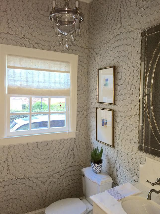 Photos Of We kept it simple for our client us Powder Room refresh chic art new lighting and one of our favorite Feather Wallpaper did the trick