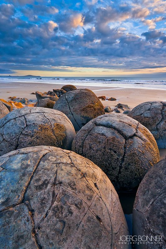 Moeraki Boulders, known as the 'Dinosaur Eggs, New Zealand by Joerg Bonner