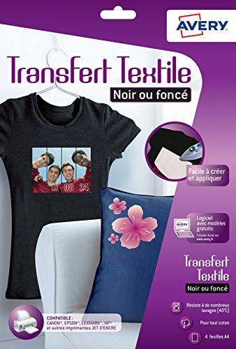 Avery 4  Papiers Transferts T shirt/Textile Noirs ou Foncés - A4 - Jet d'Encre (C9406) #Avery #Papiers #Transferts #shirt/Textile #Noirs #Foncés #d'Encre