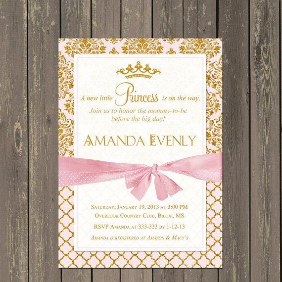 Princess Baby Shower Invitation, Pink and Gold Baby Shower Invitation, Glitter Baby Girl Invitation, Royal Baby Shower, Tiara invite