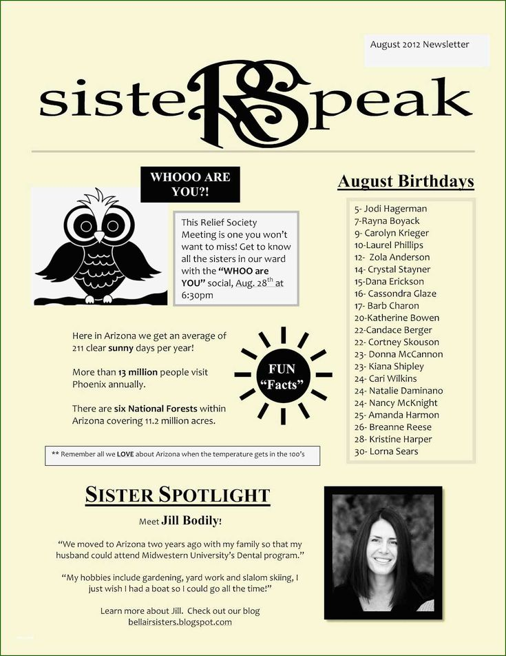 Foolproof Relief society Newsletter Template that Prove