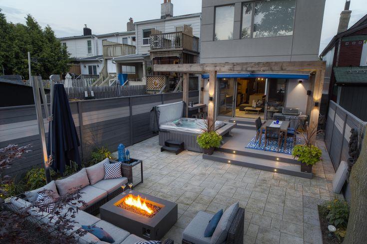Beautiful backyard with contemporary LED Lighting!