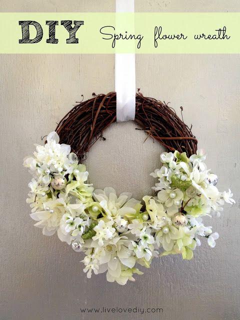 DIY Glam Spring Flower Wreath #craft #Spring #easy