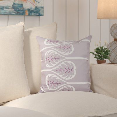 """Bay Isle Home Kokenzie Fern 1 Outdoor Throw Pillow Size: 20"""" H x 20"""" W, Color: Lavender"""