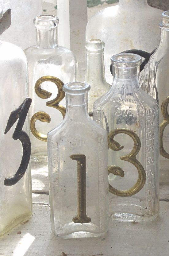 bottles with numbers