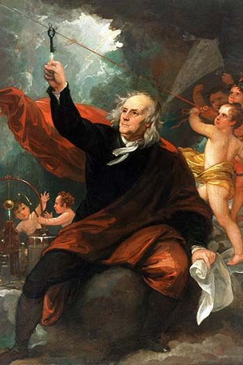 Benjamin Franklin Drawing Electricity from the Sky by Benjamin West - Art Print  #9785873356539 #Buyenlarge #FamousAmericans #New