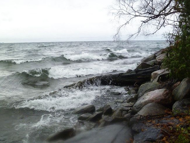 Lake Simcoe at the onset of the storm from hurricane Sandy - Oct. 29, 2012