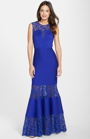 Tadashi Shoji Lace Inset Pintuck Trumpet Gown available at #Nordstrom