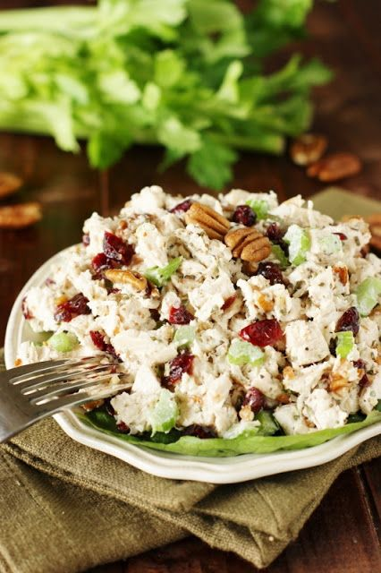 Tarragon Chicken Salad ~ Loaded with big flavor from tarragon, dried cranberries, and chopped pecans.  Perfect over greens or in {the best} chicken salad sandwiches!   www.thekitchenismyplayground.com