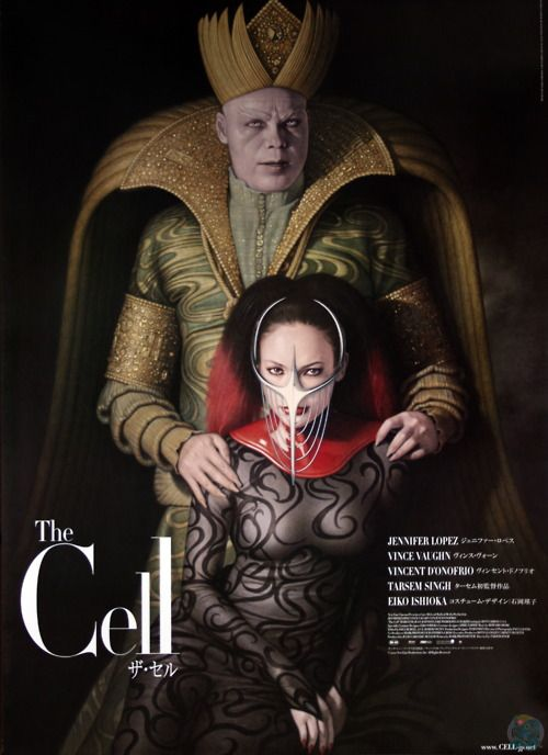 The Cell (2000) Not a huge JLo fan but with support from Vince Vaughn & Vincent D'Onofrio this movie is a MUST SEE. Costumes by Eiko Ishioka, sets based on HR. Giger, Damien Hirst, Odd Nerdrum, etc...