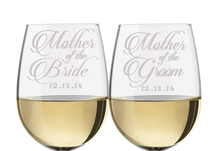 "Mother of the Bride & Mother of the Groom Stemless Wine Glass Set, wine glass for mother of the bride, wine glass for mother of the groom, gifts for mother of the bride and groom. You get a set of stemless wine glasses made especially for, Mother of the Bride and Mother of the Groom. Wine glasses are 5"" tall and hold 21oz. These wine glasses make a great gift and keepsake to remember their children's wedding day. Personalize it with the wedding date or just leave it without. A great…"