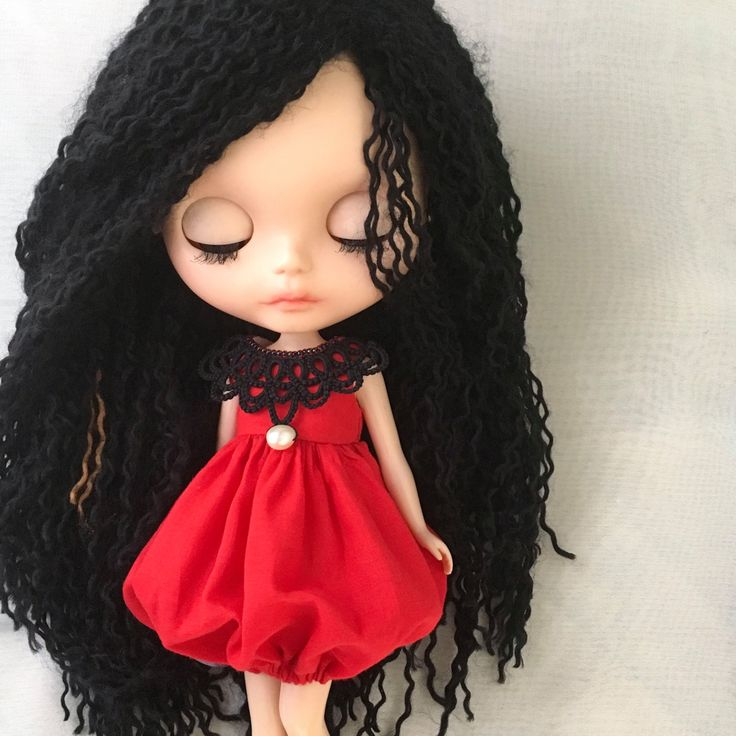 Blythe Red and Black Bubble dress with tatted lace Collar by Mintycottonbunny on Etsy