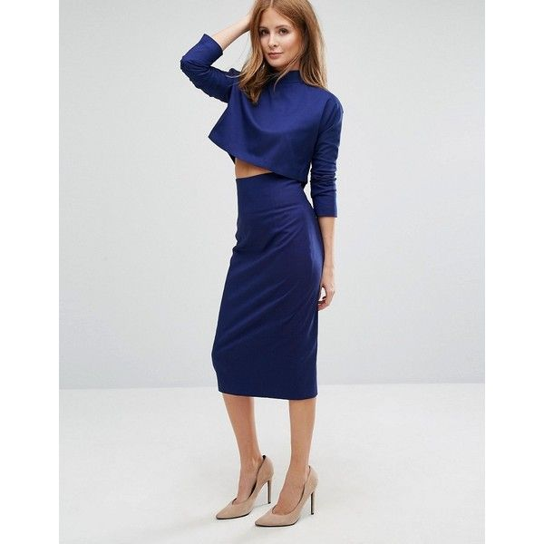 Millie Mackintosh Tailored Pencil Skirt Co-ord (£48) ❤ liked on Polyvore featuring skirts, blue, lace maxi skirt, blue maxi skirt, knee length pencil skirt, maxi skirts and lace pencil skirt