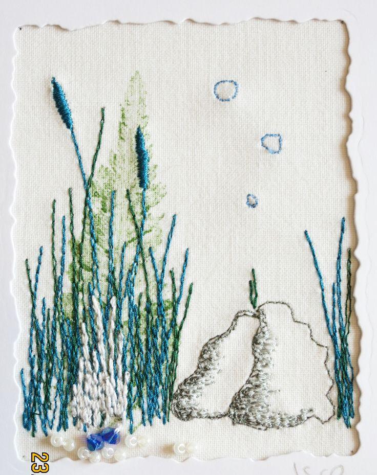 """Genähtes kleines Bild """"Donaulandschaft"""", 6,5 x 8,5 cm"""
