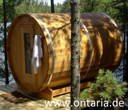 Barrel-Sauna Ø180xL240 cm - 8 People There's room for the whole family plus Grandpa and Grandma in this one