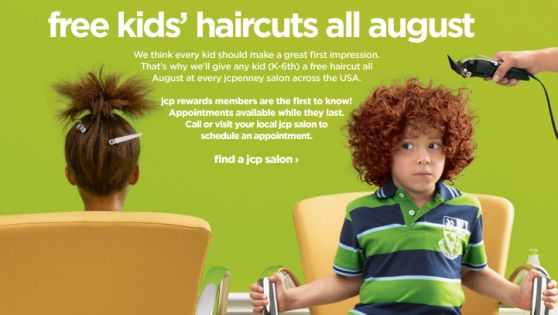 During the month of August your kids can receive a FREE haircut from JC Penney Salons!