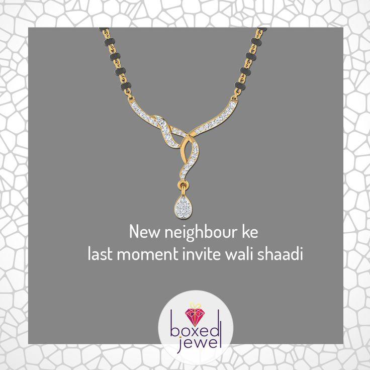 Naye ho to kya hua?  Neighbour toh Neighbour hote hai! Koi bhi ho occasion, www.boxedjewel.com hai na! #Jewellery #Mangalsutra