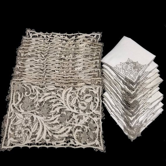 A Truly Exceptional Set Of Vintage Italian Table Linens All