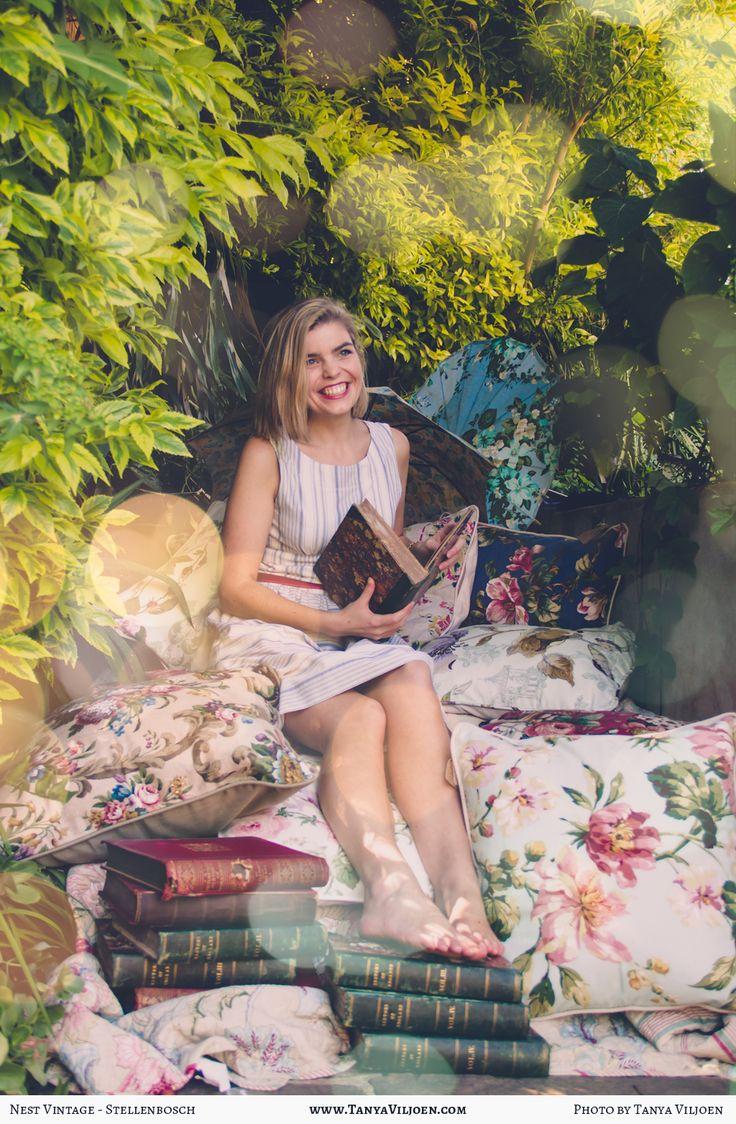 Nest Clothing, Sailor stripe bow dress and Nest cushions, photography Tanya Viljoen
