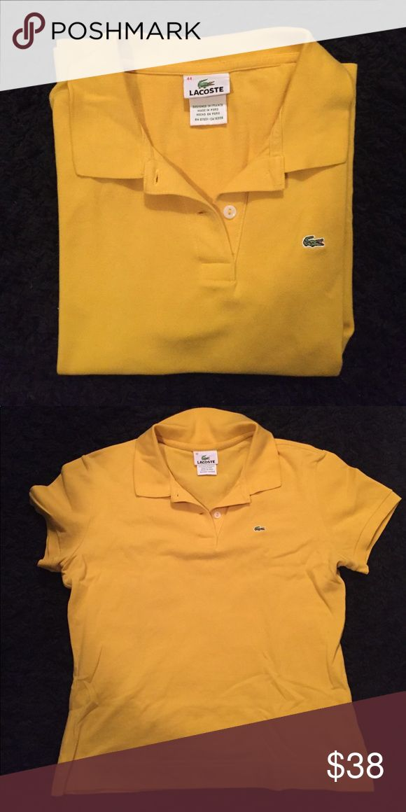 Women's Lacoste 2-Button Polo Lacoste 2-Button Polo. Runs small. The size says 44 but all of my other Lacoste shirts are a 36 or 38 and this one still fits me just fine. Lacoste Tops