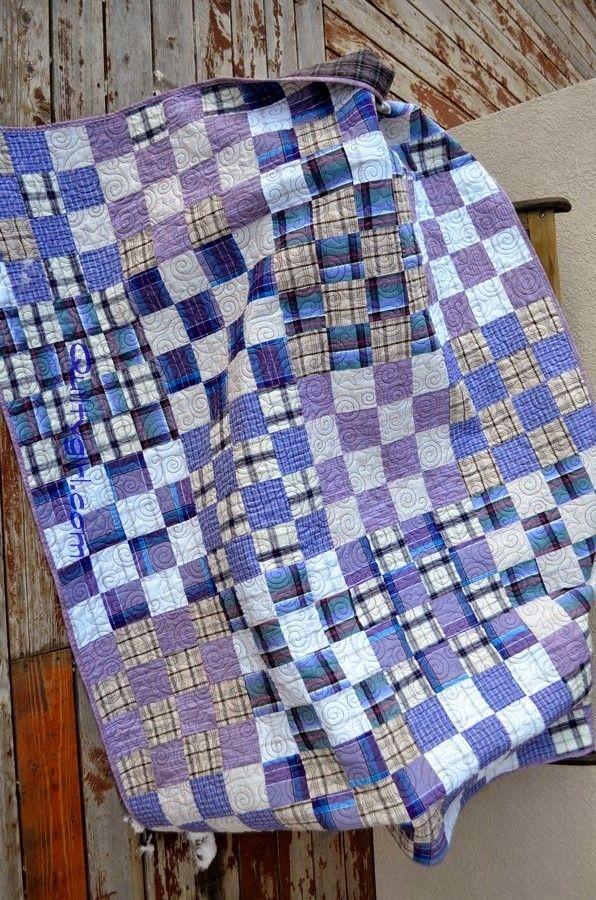 Plaid Shirt quilt, 16-patch design at Alycia Quilts