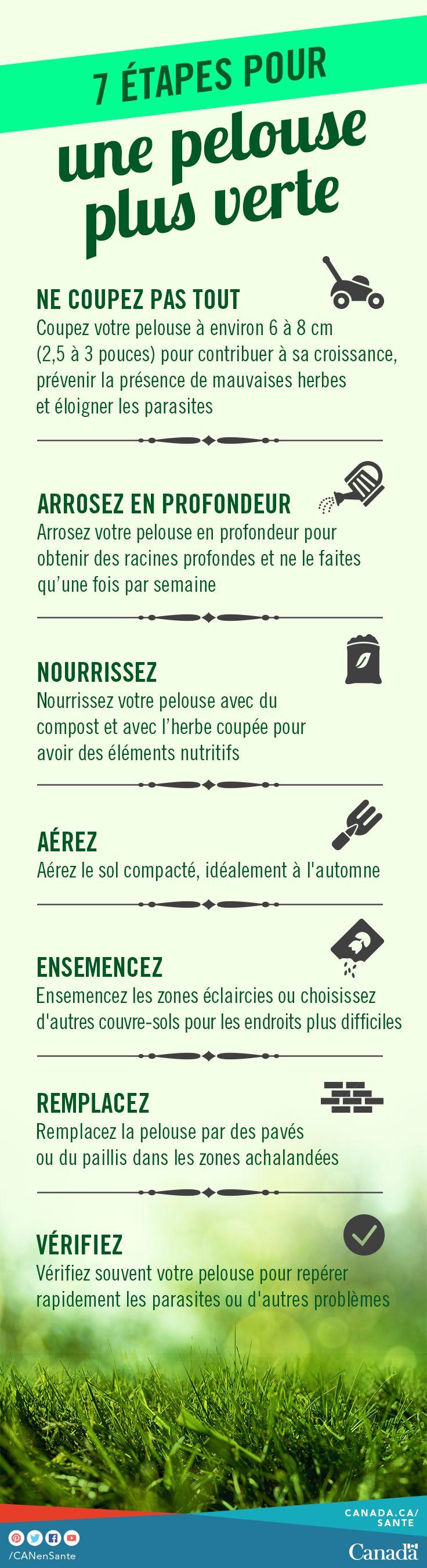 Le voisinage enviera votre pelouse avec ces excellents conseils pour une pelouse verdoyante.  http://www.canadiensensante.gc.ca/healthy-living-vie-saine/environment-environnement/home-maison/lawn_healthy-saine_pelouse-fra.php?utm_source=pinterest_hcdns&utm_medium=social_fr&utm_content=apr24_grass&utm_campaign=social_media_16
