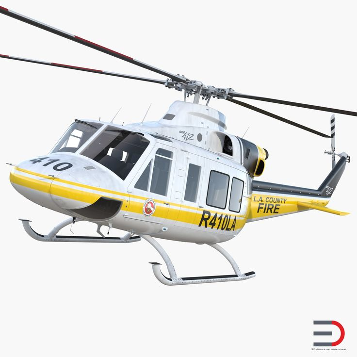 3D model Bell 412 Fire Department Helicopter