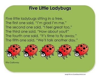 Five Little Ladybugs is a song or finger-play that can be used in early childhood and preschool classes. This PDF file contains the words to the so...